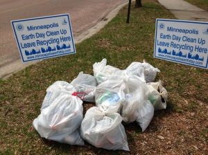 Materials for recycling pulled from the banks of the Minnehaha Creek