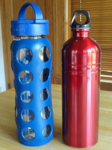 Avoid plastic, fill your glass or metal bottles with water or other liquid