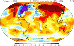 the first two months of 2015 were the hottest on record globally. One place was a cold peninsula??
