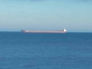 An occasional 1000 foot ore boat passes through on horizon