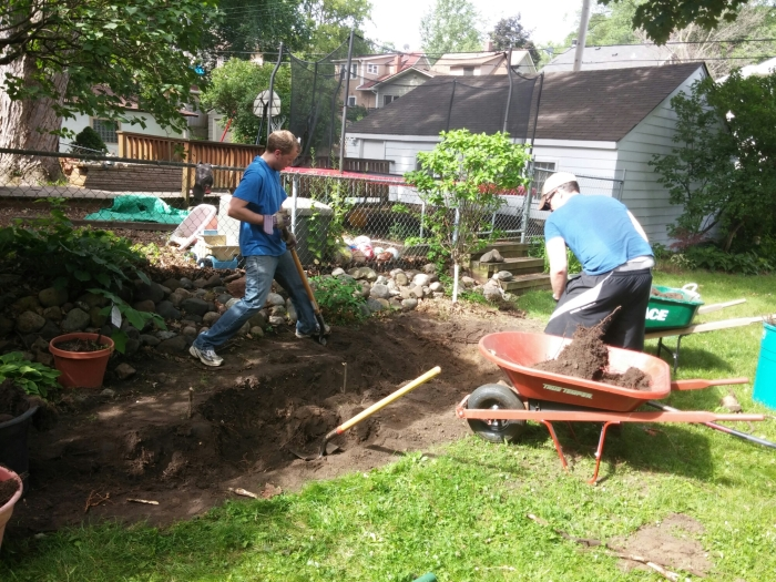 Digging the hole for the garden