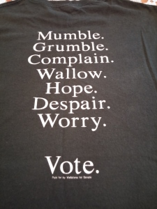 On the back of my Wellstone t-shirt