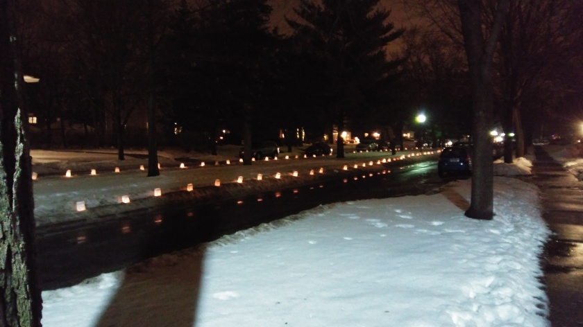 Six blocks of Christmas luminaries in my neighborhood