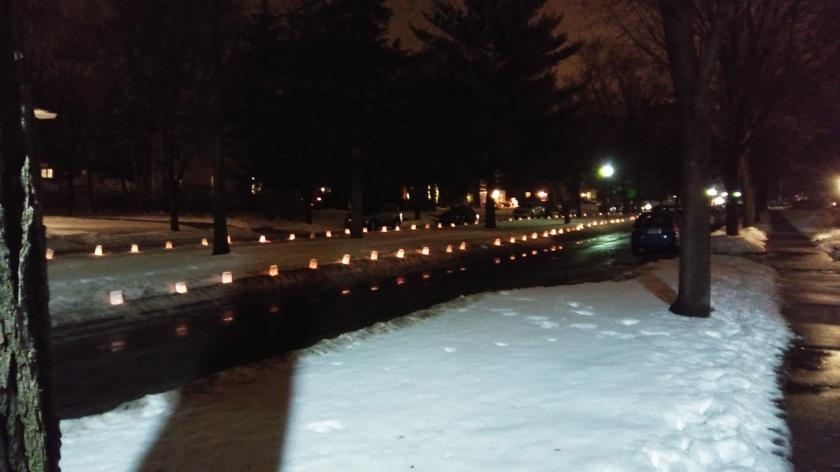 Six blocks of Christmas luminaries in my neighborhood